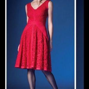 Tadashi Shoji Dress Size 12 Red Lace & Jersey